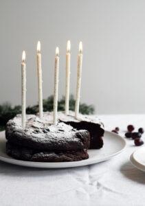 vegan kerstrecept chocoladetaart