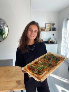 plaattaart falafel gegrilde groenten