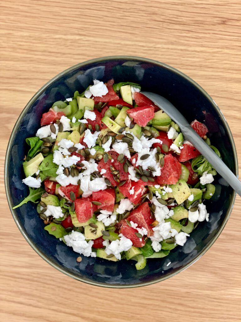 salade vegan grapefruit en avocado